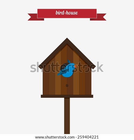 Bird House Flat Style Design Vector 259404221