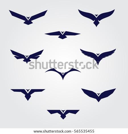 bird icon set blue silhouettes