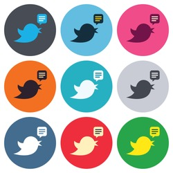 Bird icon. Social media sign. Short messages twitter retweet symbol. Speech bubble. Colored round buttons. Flat design circle icons set. Vector