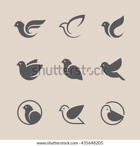 bird icons set dove and pigeon