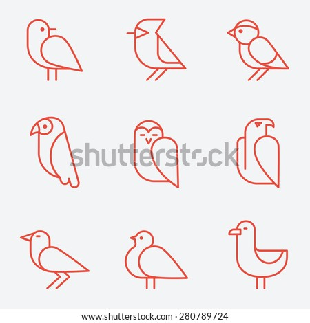 bird icons  thin line style