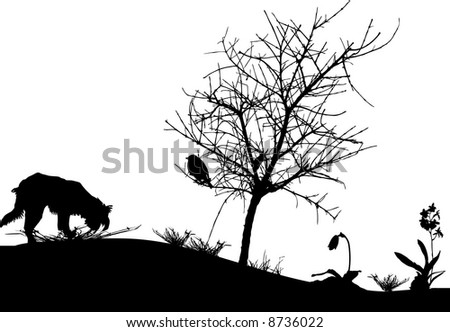 bird in a tree, grass flower and dog - stock vector