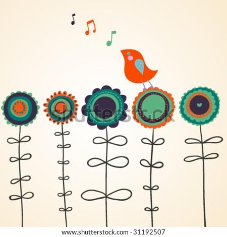Bird is singing on flowers