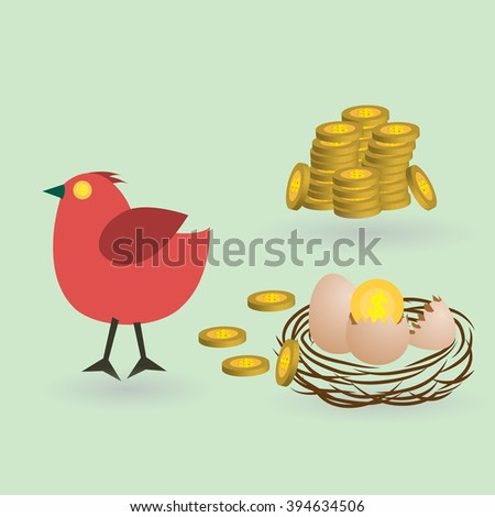 bird lay coins from eggs on the
