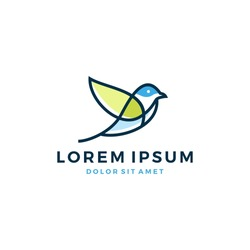 bird leaf logo vector icon template download line art outline