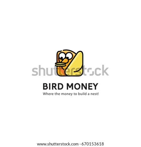 bird logo vector the money