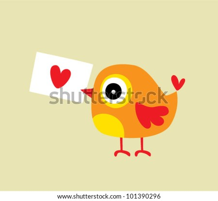 bird love letter - stock vector