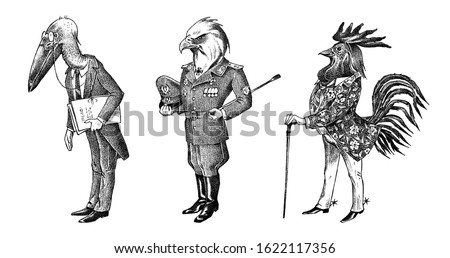 Bird man, eagle and marabou head in military uniform. Dressed Rooster or Cock cowboy. Hand drawn fashionable cockerel. Engraved old monochrome sketch. Mythical fashion creature in hipster style. Foto stock ©