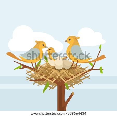 Bird nest on the tree branch with bird family. Vector flat illustration stock photo