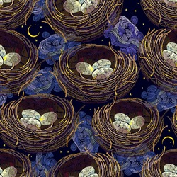 Bird nest with eggs, moon and night sky. Happy easter art. Seamless pattern. Fashion spring garden style. Embroidery design. Template for design of clothes, tapestry