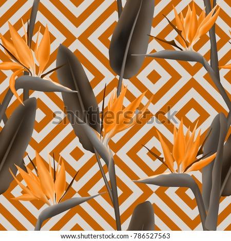 Bird of paradise tropical flower vector seamless pattern.  Cool african crane flower or strelitzia reginae blossom floral textile pattern. Jungle leaves, paradise tropical plant design.