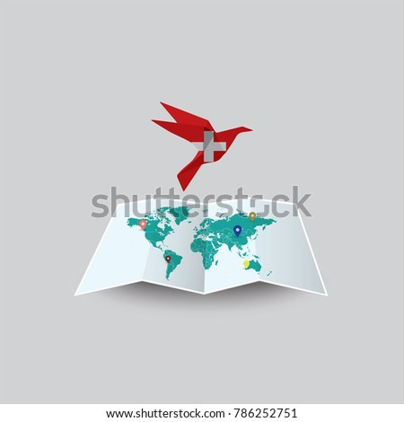 Bird of Peace in the World in Switzerland Flag. Image of a vector world map with a colorful gray background. Vector illustration eps 10.