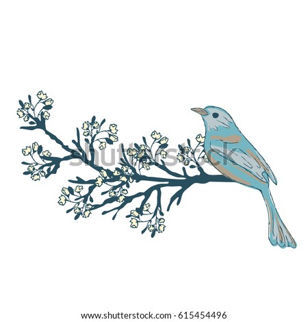bird on a flowering branch of a
