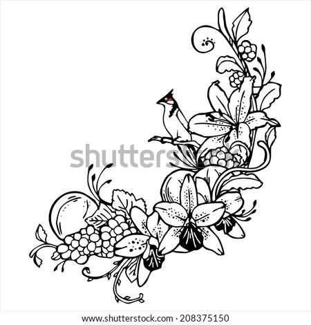 Birds Flowers Drawing Bird Orange Flower Line