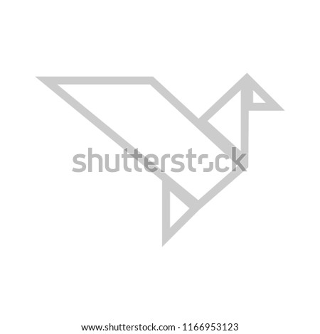 bird paper craft flying in frame art isolated on background