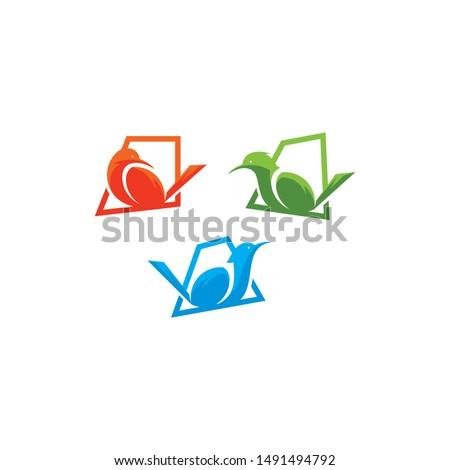 bird perched logo icon vector