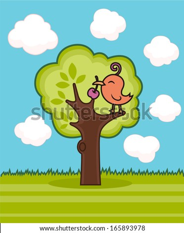 bird perching on a tree