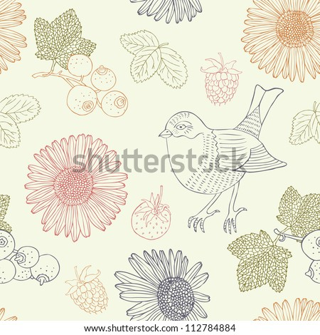bird retro seamless pattern - stock vector