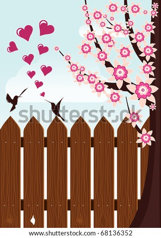 bird's love near beautiful tree