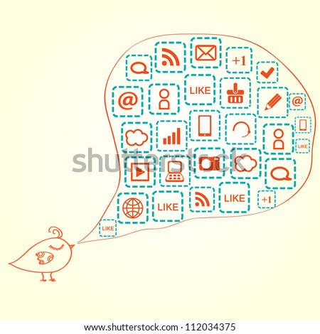 Bird Silhouette with Social Media Icons in Bubble Speech. Vector Illustration