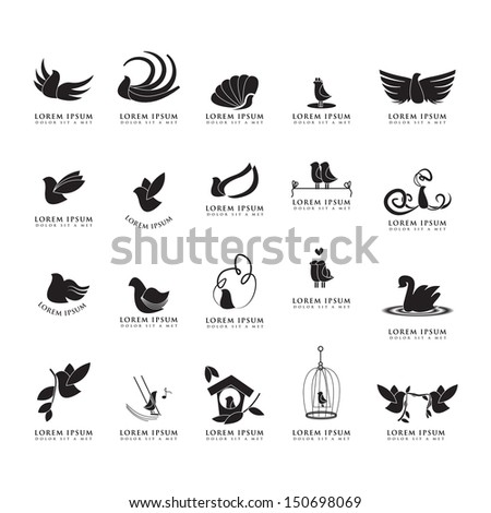 Bird Silhouettes Set Isolated On White Background Vector Illustration Graphic Design Editable For Your Design Birds Logo