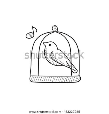 bird singing in cage vector