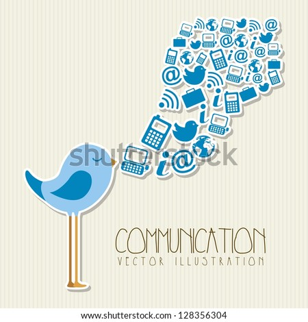 bird singing with communication signs. vector illustration