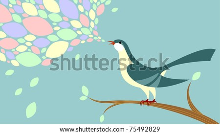Bird sitting on the branch and singing. Song disintegrates as colored leaves