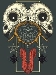 Bird skulls pentagram dream catcher tattoo t-shirt design