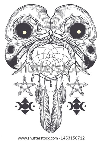 Bird skulls pentagram dream catcher tattoo t-shirt design
