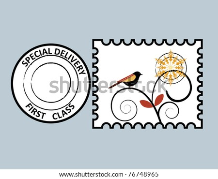 Bird Stamp - layered for easy editing