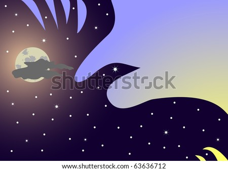 bird symbol of night night sky