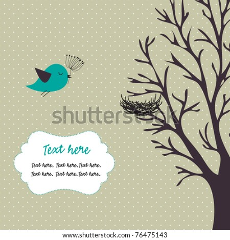 Bird,tree and nest