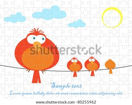 Bird vector graphic puzzle jigsaw