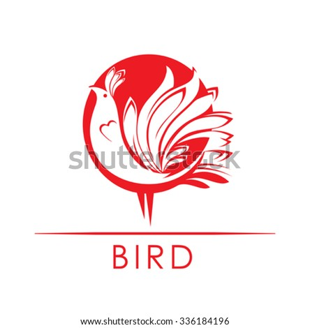 bird   vector image red bird
