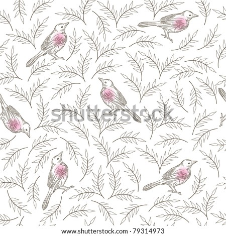 Bird wallpaper Vector illustration of a seamless pattern of birds and branches.