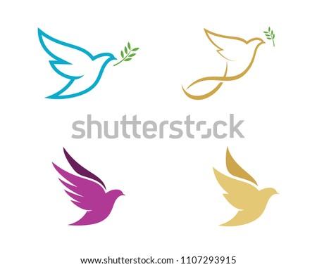 Bird wing Dove Logo Template vector illustration