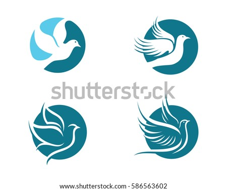 bird wing dove logo template vector illustration ez canvas