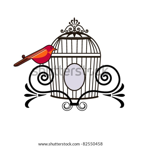 Bird with decorative cage
