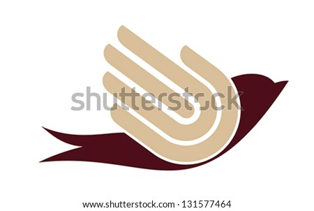 Bird with hand, freedom sign, vector,