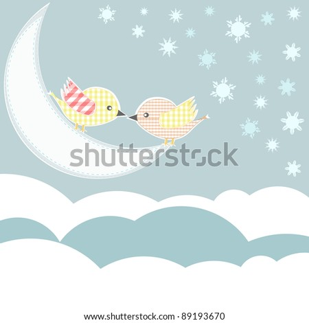 bird with love kiss in sky clouds. vector