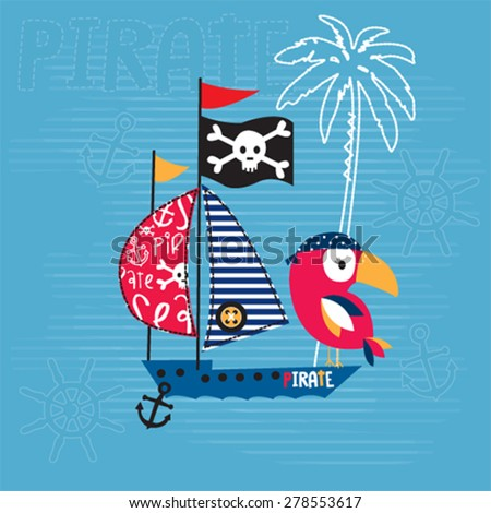 bird with pirate ship  t shirt
