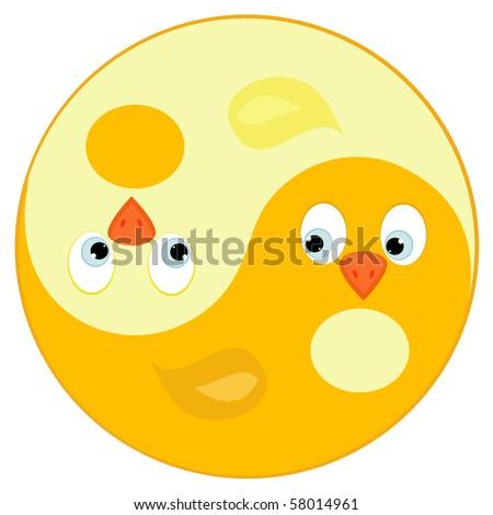 Bird ying yang symbol of harmony and balance - stock vector