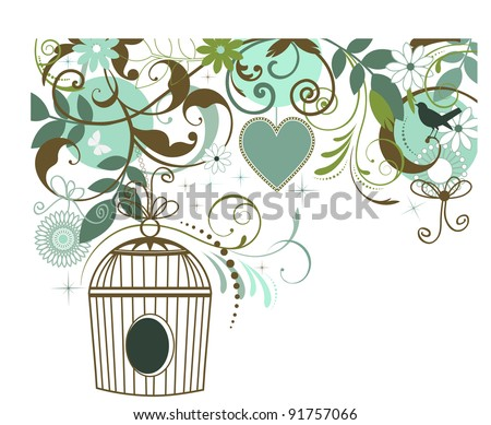 Birdcage butterfly bird heart collage