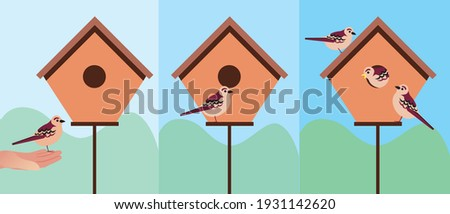 Birdhouse for birds in the garden. Flat vector stock illustration. Wooden house for birds. Sparrows nest. Wildlife, ecology concept. Birdhouse for nesting. Vector illustration ストックフォト ©