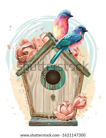 Birdhouse with flowers and birds. Wall sticker. Artistic, color, hand-drawn image of a birdhouse with birds and flowers in watercolor style on a white background. Stockfoto ©