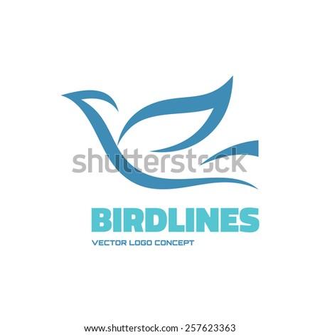 Birdlines - vector logo concept illustration. Bird logo. Dove logo. Abstract lines logo. Vector logo template. Design element.