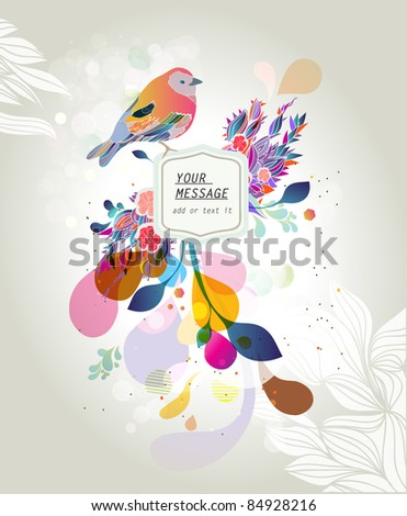 Birds and abstract flowers illustration banner