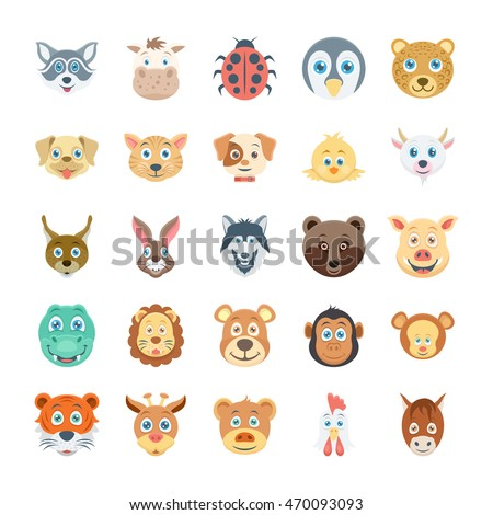 Birds and Animals Faces Colored Vector Icons 3