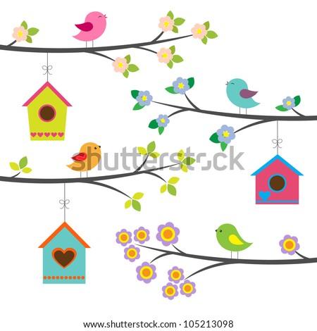 birds and birdhouses vector set